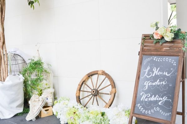wedding board, wedding venue set up