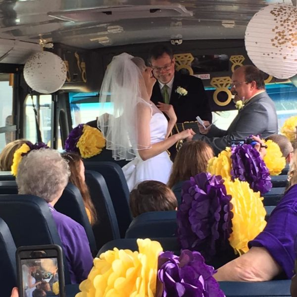 wedding by the bus