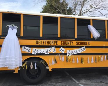 wedding by the a bus