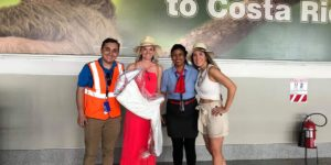 The lady who forgot her bridesmaid's dress together with the crew from Southwest Airlines