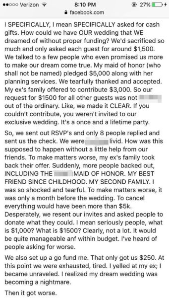 bride cancels wedding as guest refused to pay $1120