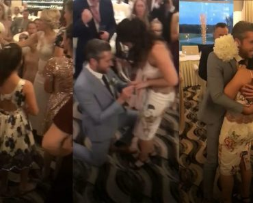 bridesmaid gets proposed to after getting the bridal bouquet