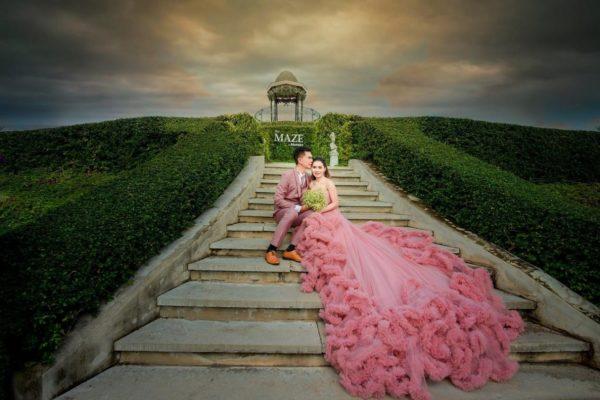 chiffon wedding dress in pink