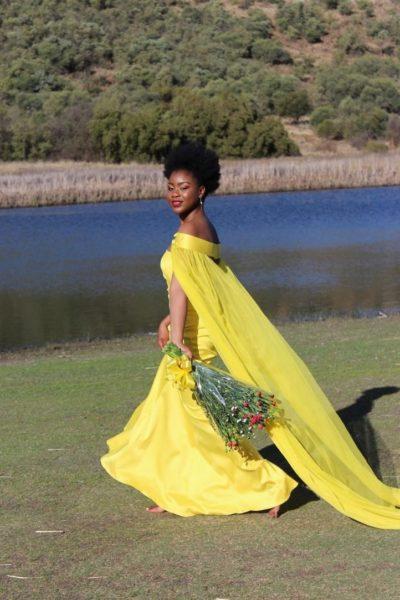 off shoulder yellow wedding dress