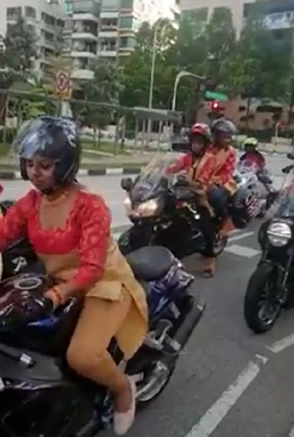 bride in big bike